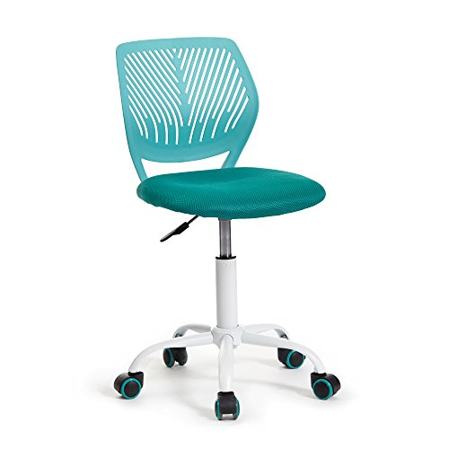 Green Forest Office Task Desk Chair Adjustable Mid Back Home Children Study Chair, Turquoise