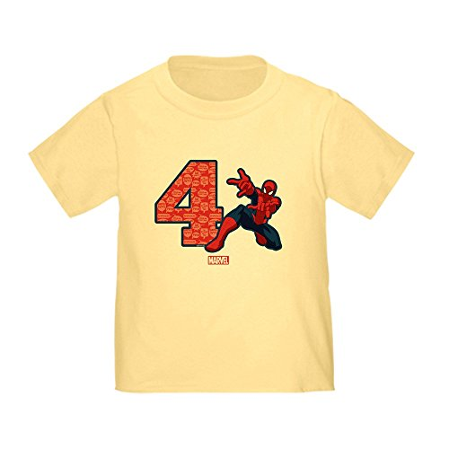 CafePress Spider Man Birthday Age 4 Toddler T Shirt Cute Toddler T-Shirt, 100% Cotton Daffodil Yellow -