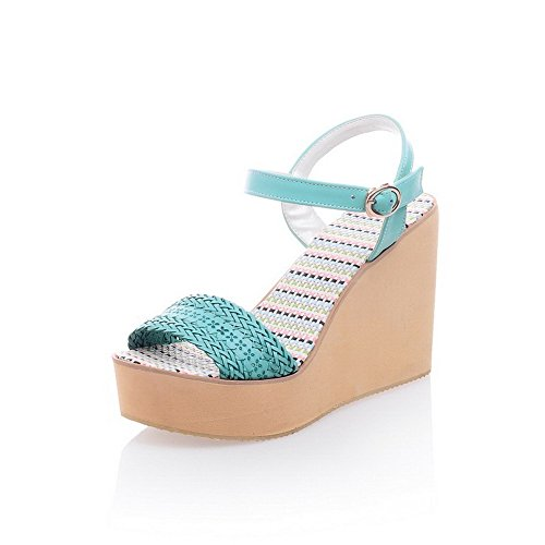 Amoonyfashion Donna Materiale Morbido Open Toe Tacchi Alti Fibbia Sandali Di Colore Assortiti Verde
