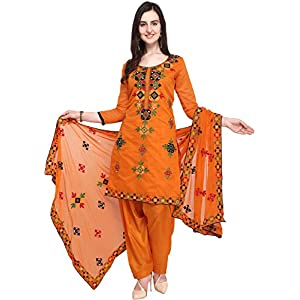 EthnicJunction Women Chanderi Cotton Un-stitched Salwar Kameez Dress Material