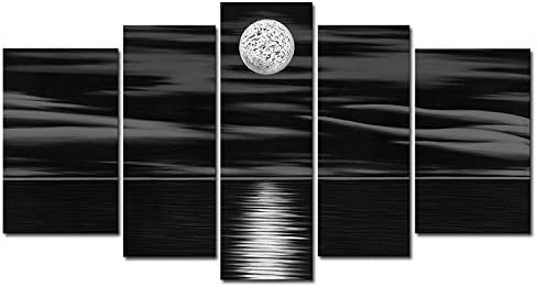 Wieco Art 5 Panels 100 Hand Painted Oil Paintings Canvas Wall Art Home Decorations for Living Room Bedroom Large Sea White Full Moon Modern Stretched and Framed Abstract Landscape Artwork Decor L