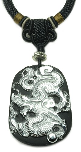 Auspicious Imperial Flying Fire Dragon Silvery Obsidian Amulet Necklace - Fortune Feng Shui Jewelry