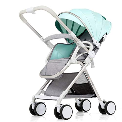 DXDZQ Lightweight Stroller, with Safety System and Multi-Position Reclining Seat, Extended Canopy, Easy One Hand Fold, Large Storage Basket, Tray (Color : Green)