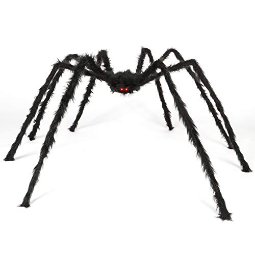 Halloween 6.6 Ft. 200cm Giant Spider for Outdoor Decor Yard Decorations,Fake Large Spider Props for Halloween Haunt D