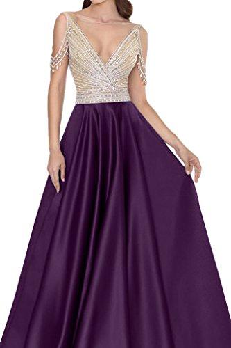 Festkleid Ausschnitt Rueckenfrei Steine Traube Satin Ivydressing Partykleid V Damen Promkleid Abendkleid qFCHqSR