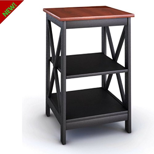 Nightstand Bed Side Table With Storage Sofa End Table With 2 Shelves For Bedroom / Living Room / Office Use Finish Black Frame Cherry Top Contemporary Design And E-book By TSR