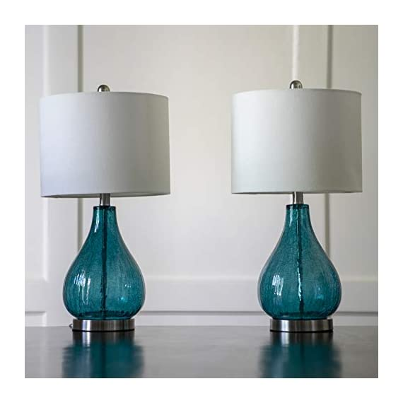Decor Therapy MP1054 Table Lamp, Emerald Blue Green - Glass and metal table lamp Linen hardback lamp shade Lamp shade Dimension 12 x 12 x 9 - lamps, bedroom-decor, bedroom - 41O 6XqsHFL. SS570  -
