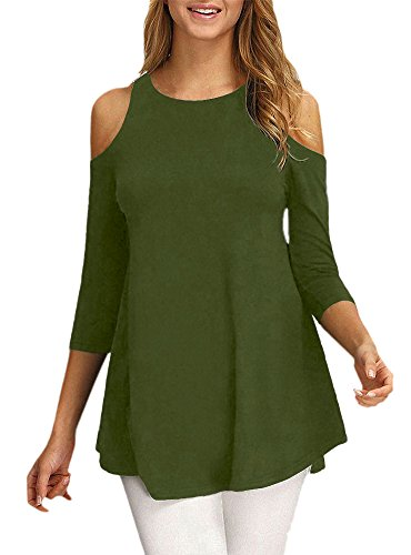 Afibi Womens Cold Shoulder Half Sleeve Swing Tunic Tops for Leggings (Large, Army Green)