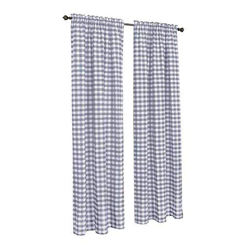 (GoodGram Buffalo Check Plaid Gingham Custom Fit Window Curtain Treatments Assorted Colors, Styles & Sizes (Single 84 in. Panel, Grey))