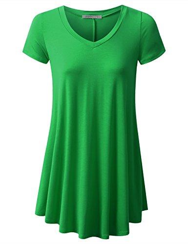 URBANCLEO Womens V-Neck eLong Tunic Top Mini T-shirt Dress GREEN XLARGE