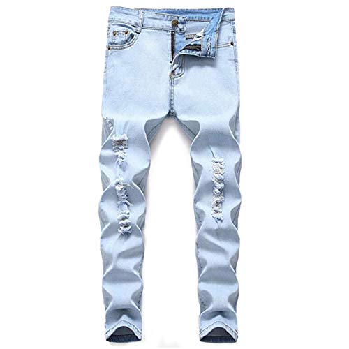 Boy's Light Blue Stretch Skinny Fit Ripped Destroyed Distressed Fashion Slim Denim Jeans 16 (Best Looking Ripped Jeans)