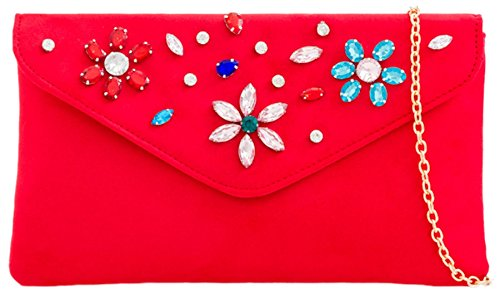 Girly Bag HandBags Red Red Clutch Gemstones Bag Clutch Floral Floral HandBags Gemstones Girly OOTxAwqf