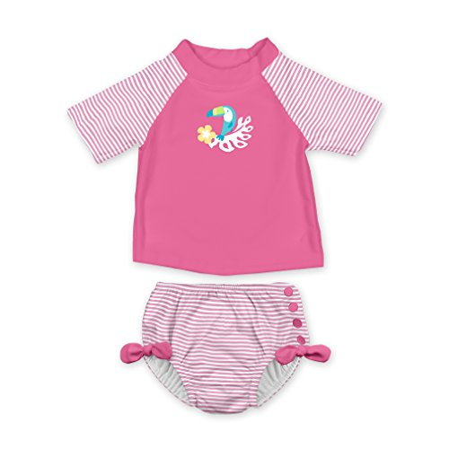 - i play. Baby Girls 2pc Rashguard Swimsuit Set with Snap Reusable Swim Diaper, Hot Pink Toucan, 12 Months