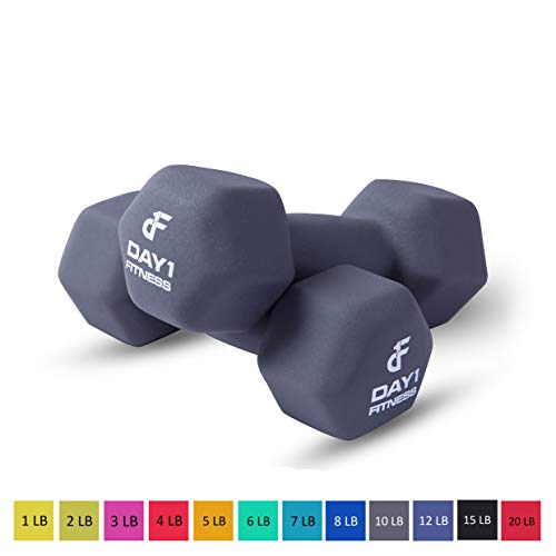 Day 1 Fitness Neoprene Dumbbells - Non-Slip, Hexagon Shape, Color Coded, Easy To Read - Hand Weights Muscle Toning, Strength Building, Weight Loss, Cardiovascular Health - 10 lb, Set of 2