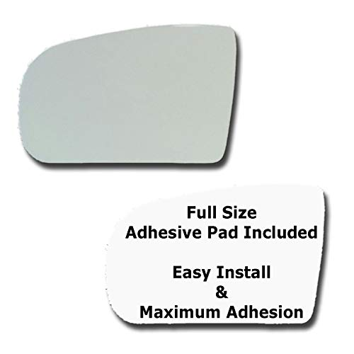 Mirror Glass + Full Size Adhesive Pad for 2000-2003 Mercedes-Benz E320 Driver Side Replacement - Dim Fit Over
