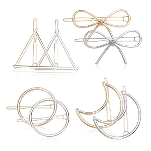 Kicosy 8 Pcs Rose Gold Silver Minimalist Hair Pins Geometric Handmade Hair Clips Circle Triangle Moon and Butterfly Bobby Pins Head Accessories set