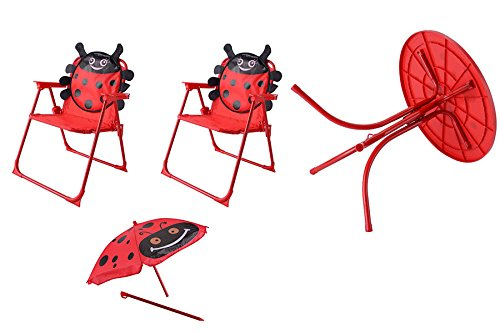 eXXtra Store Outdoor Table and 2 Folding Chairs with Umbrella Kids Garden Set Yard Patio + eBook