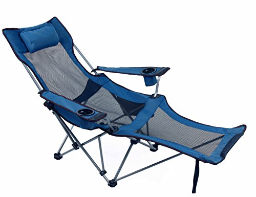 Light Weight Backpacking Reclining/Lounging Camping Folding Chair with Headrest and Footrest for Outdoor Camping, RV, BBQ, Football Games