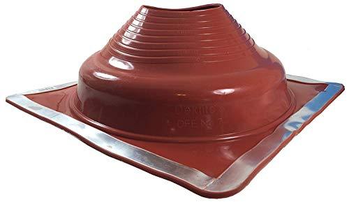 Dektite Premium #7 Red Silicone Metal Roof Pipe Flashing, High Temp, Square Base, Pipe OD 6