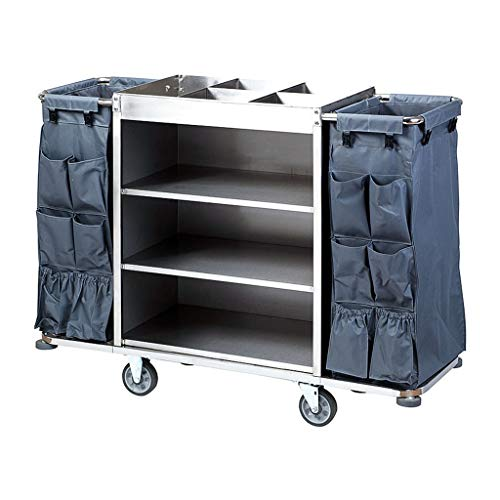 Janitor-Housekeeping Carts DIOE Cleaning Dolly Service Truck Trolley Vinyl-Bags Swivel Flexible 6 inch Silent Wheels Thicken Stainless Steel, Hotel Trolley, Service Truck, Shelf