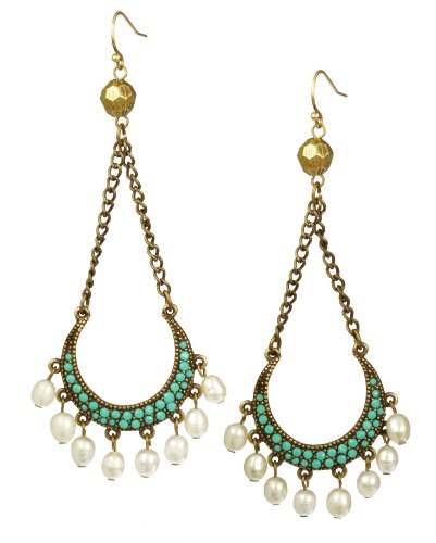 Turquoise Bead, White Freshwater Cultured Pearl and Gold Tone Metal Chandelier Earrings