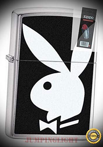 28269 Playboy Bunny Logo Brushed Chrome Lighter with Flint Pack - Premium Lighter Fluid (Comes Unfilled) - Made in ()