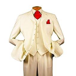 HBDesign Mens 3 Piece 7 Button Peak Lapel Slim Fit Long Pattern Suits Beige 46R