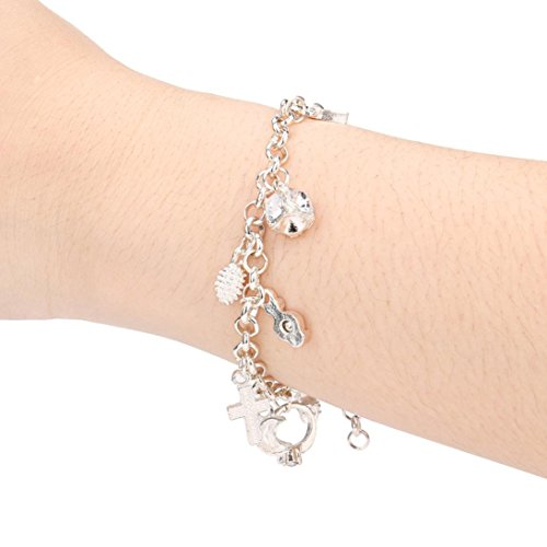 Silver Plated Diamond Cute Tassel Pendant Bracelet Chic Charm Jewelry Accessories