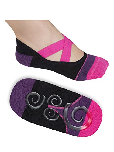 Lupo Women's Heel N Toe Yoga Barre Pilates Grip Socks, Large Black Pink