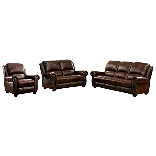 (HOMES: Inside + Out IDF-6191-3PC Tad's Top Grain Leather Match 3 Piece Sofa Set)