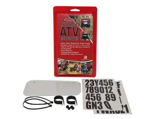 Hardline Products 2340W ATV License Plate Kit, White Plastic