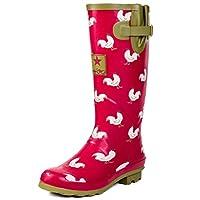 Spylovebuy Adjustable Buckle Flat Welly Rain Boots Red Chicken Sz 8