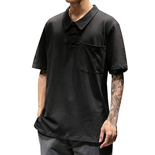 Wkgre Mens Summer T-Shirt Solid Casual Vintage Blouse Buckle Lapel Patchwork Short Sleeve Classic Refined Tops (XL, Black) ()