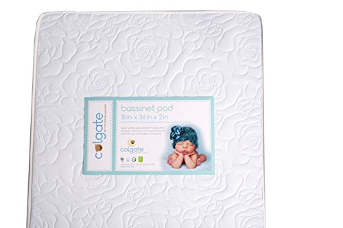 "Colgate Bassinet Mattress Foam Pad with Waterproof White Quilted Cover, Rectangular, 18"" x 36"" x 2"""