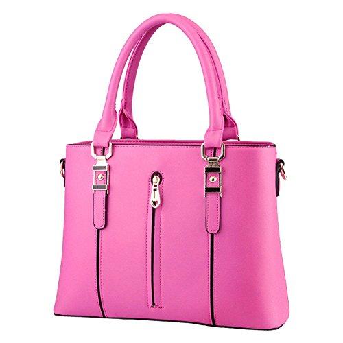 QCKJ-Lorenz-Borsa a tracolla da donna in stile europeo, in massello, Borsa con Zip, colore: rosa