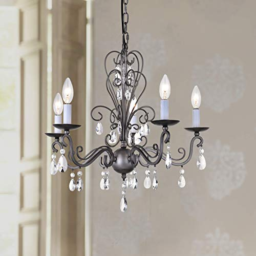 Wrought Iron Rustic Vintage Antique nickel Candle Chandelier Crystal Lighting Fixture Lamp for Dining Room Bathroom Foyer Livingroom 5 E12 Bulbs Required D22 in x H20 in ()