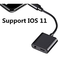Upgrade Lightning Adapter with iOS 11, SUMDY for iphone 7 Adapter,Lightning to 3.5mm Jack Adapter,AUX Headphone Charger Adapter,for iphone 7 plus adapter Black