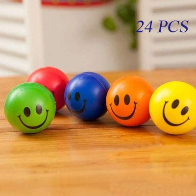 (WUWE Colored Smile Funny Face Stress Ball Happy Smiley Face Squishies Toys Stress Balls Bulk Stress Relief Smile Squeeze Balls Relaxable Fun Toys Assorted Colors 2.5 Inch(Pack of 24))