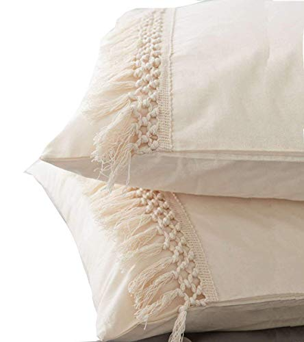(Flber Pom Tassel Sham Set Cotton Pillow Covers King Size,19.6in x35.4in,Set of 2)