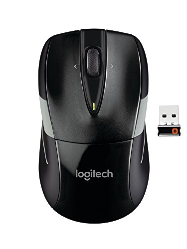 Logitech M525 Wireless Mouse – Long 3 Year Battery Life, Ergonomic Shape for Right or Left Hand Use, Micro-Precision Scroll Wheel, and USB Unifying Receiver for Computers and Laptops, Black/Gray ()