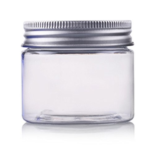 12 Pcs 50G 50ML Plastic Empty PET Refillable Cream Facial Mask Makeup Lotion Container Cosmetic Jars Pot with PVC Mat and Silver Aluminum Lid - Clear Bottle
