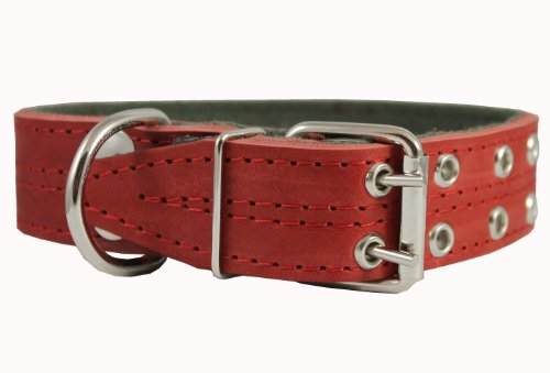 Genuine Leather Dog Collar, Padded, Red 1.5