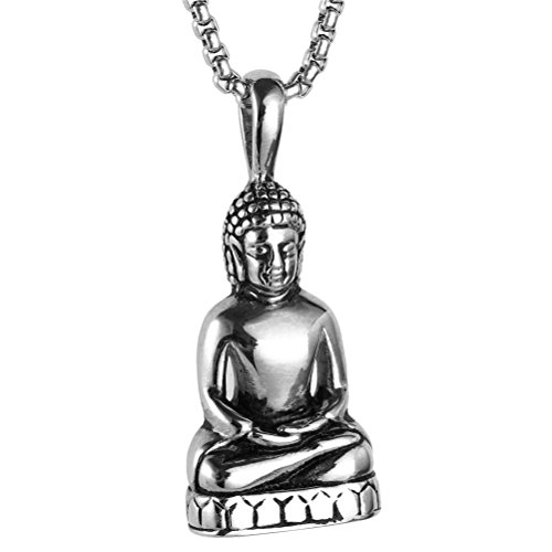 PAURO Men's Stainless Steel Gold/Silver Vintage Amitabha Buddha Statue Pendant Necklace Silver Buddha Pendant Charm