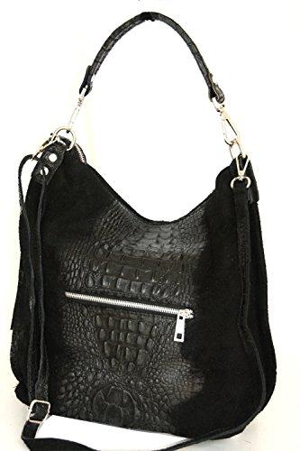croco 2107 de mujer bolso Negro Mod de hombro Shopper Italy bolso cuero UzwWRq5p