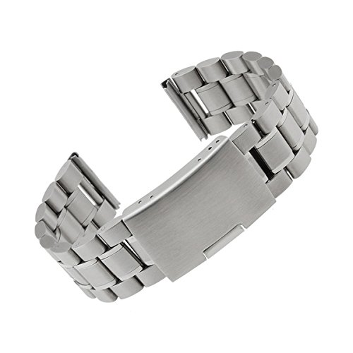 Threeeggs Stainless Steel Watch Band Strap for Pebble Time & Pebble Time Steel Smart Watch (B Silver)