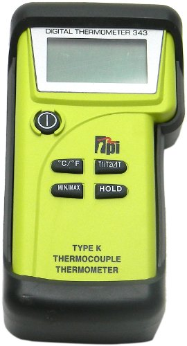 TPI 343/C3 Water Resistant, Dual-input, K-Type Thermocouple Thermometer with Tilt Stand Boot, Carrying Case with Shoulder Strap, Pipe Clamp Temperature Probes, and K-Type Thermocouple Probes with Sub-mini Connection, -50 to 1350 Degrees C, -58 to 2462 Degrees F, Accuracy of + or - 0.3% of Reading Plus 1 Degree C ()