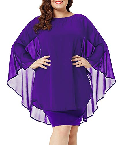 Urchics Womens Casual Chiffon Overlay Plus Size Cocktail Party Knee Length Dress Purple -