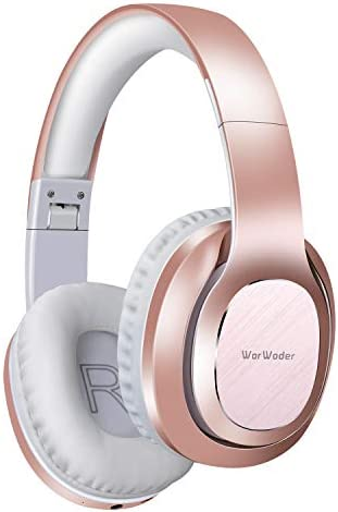 Bluetooth Headphones Over Ear, WorWoder 50 Hrs Playtime Wireless Headphones, Quick Charge, Hi-Fi Sound Deep Bass Soft Earpads, Built-in HD Microphone for Cellphone PC TV Rose Gold