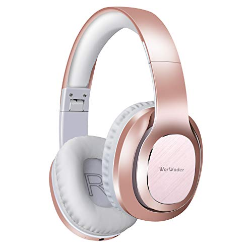 Bluetooth Headphones Over Ear, WorWoder 50 Hrs Playtime Wireless Headphones, Foldable Hi-Fi Stereo, Soft Memory Protein Earmuffs, Built-in Microphone Wired Mode for Cellphone PC Laptop Rose Gold