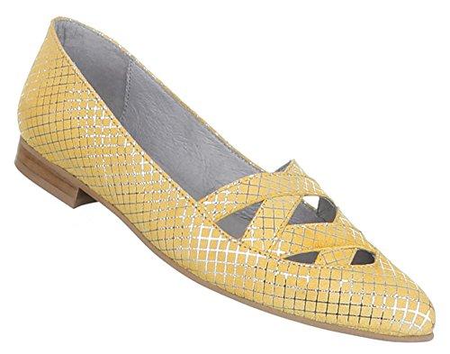 Damen Schuhe Pumps Komfort Leder Gelb